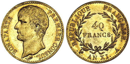 40 Francs or An XI Bonaparte Premier Consul